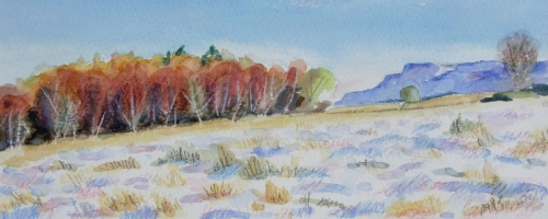 'Autumn trees in snow with Fintry Hills'. SOLD