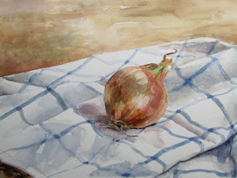 'Onion on checked cloth'
