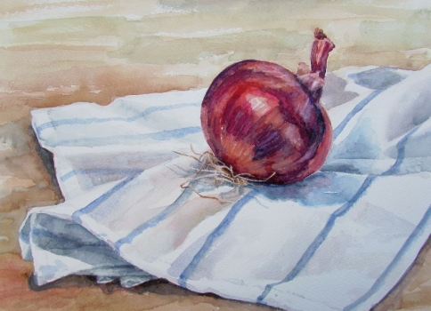 'Red onion on striped cloth'