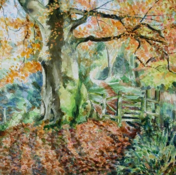 'Tree & gate, lade path, Fintry, Autumn'