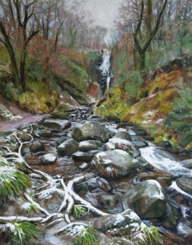 'Winter Waterfall, Aberfoyle'