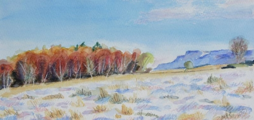 'Autumn trees in snow with Fintry Hills'