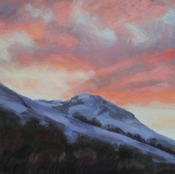 'Dunine from Fintry 16, Sunset on snow'